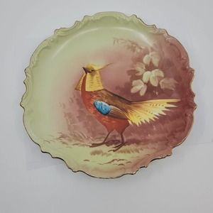 Antique Limoges B&H France Game Bird Plate Scalloped Edges Hand Painted